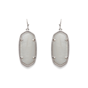 Kendra Scott Elle Silver Earrings in White Pearl