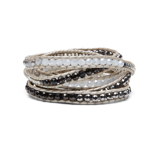 Nakamol Mixed Crystals Gray and White Wrap Bracelet