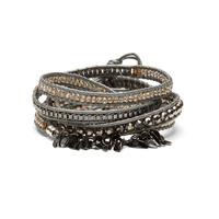 Nakamol Fringe Wrap Bracelet in Silver and Hematite