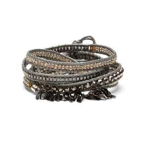 Nakamol Fringe Wrap Bracelet in Silver and Hematite