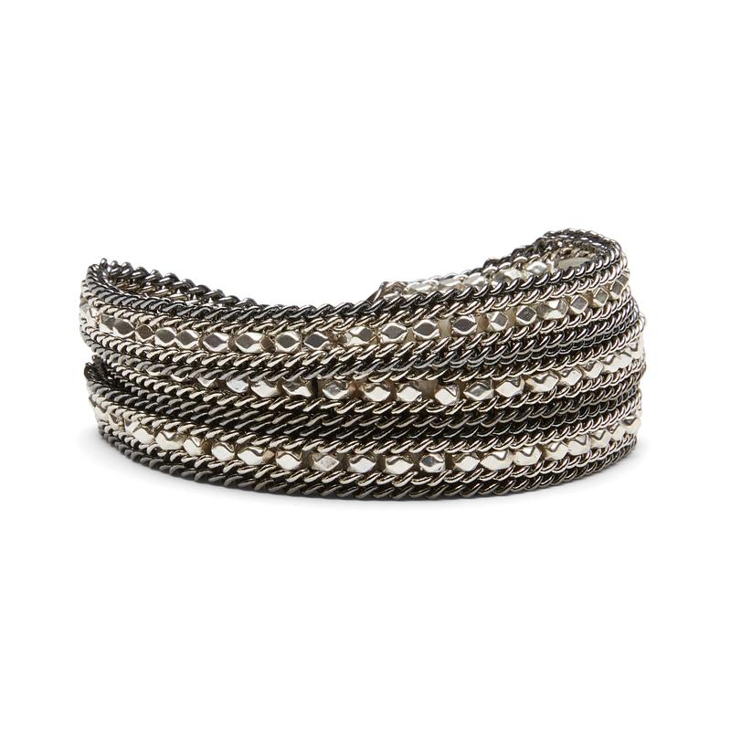 Nakamol Gunmetal and Silver Wrap Bracelet