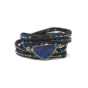 Nakamol Navy Druzy Wrap Bracelet