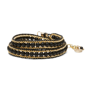 Nakamol Convertible Wrap Bracelet and Choker in Gold and Black