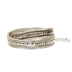 Nakamol Convertible Wrap Bracelet and Choker in Cream and Silver