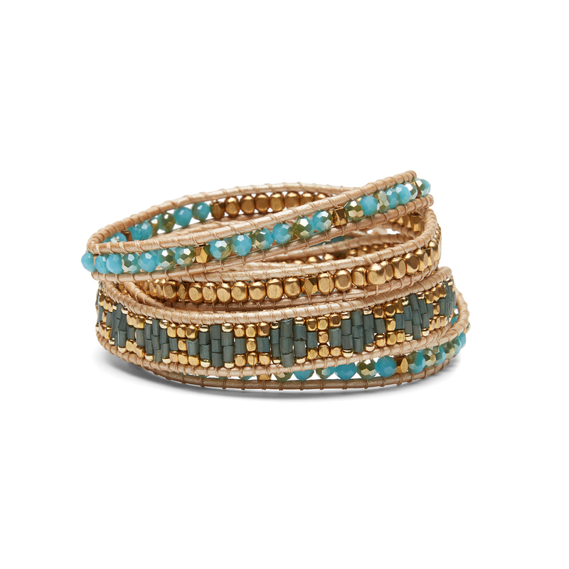 Nakamol Aztec Beaded Bracelet in Turquoise and Gold