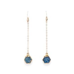 Robyn Rhodes Rory Hexagon Duster Earrings in Blue Druzy