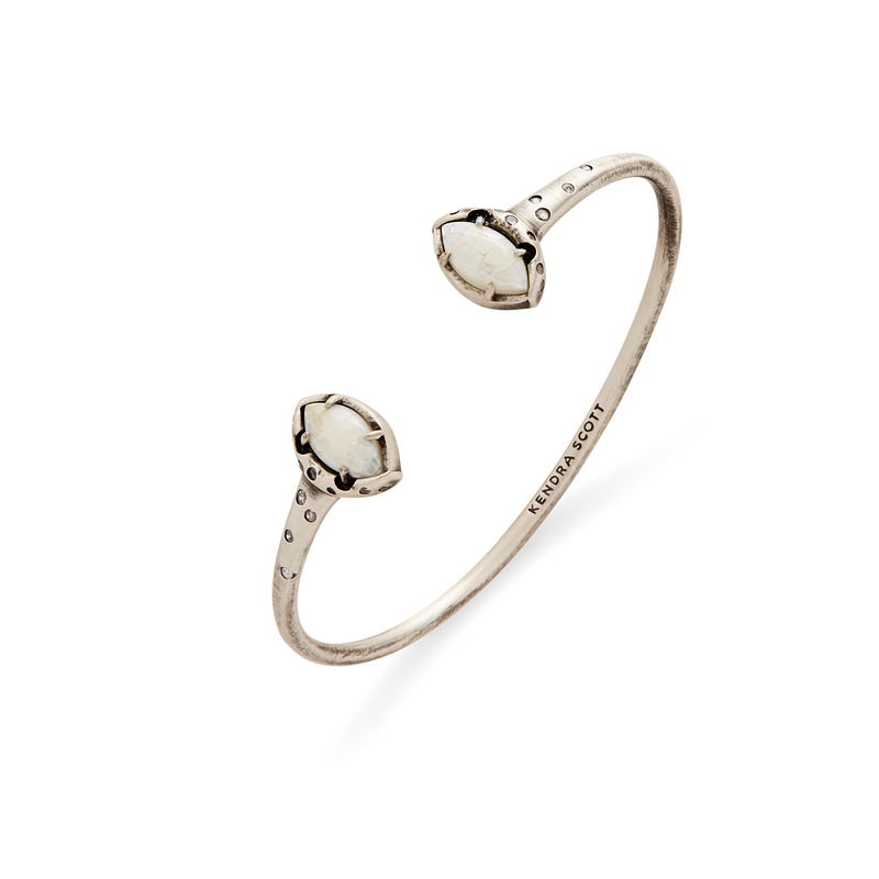 Kendra Scott Laura Pinch Bracelet in Crackle Ivory Mother of Pearl