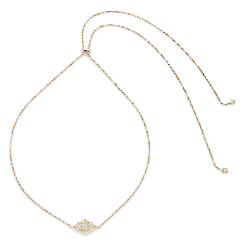 Kendra Scott Riley Adjustable Necklace in Gold with Pavé