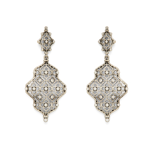 Kendra Scott Renee Earrings in Antique Silver with Pavé