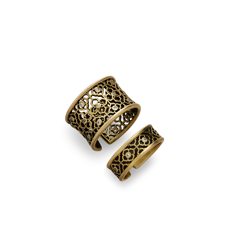 Kendra Scott Kensey Adjustable Rings in Antique Brass with Pavé