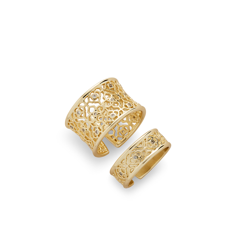 Kendra Scott Kensey Adjustable Rings in Gold with Pavé