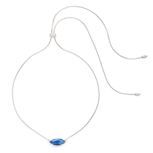 Kendra Scott Meghan Adjustable Necklace in Crackle Blue Agate