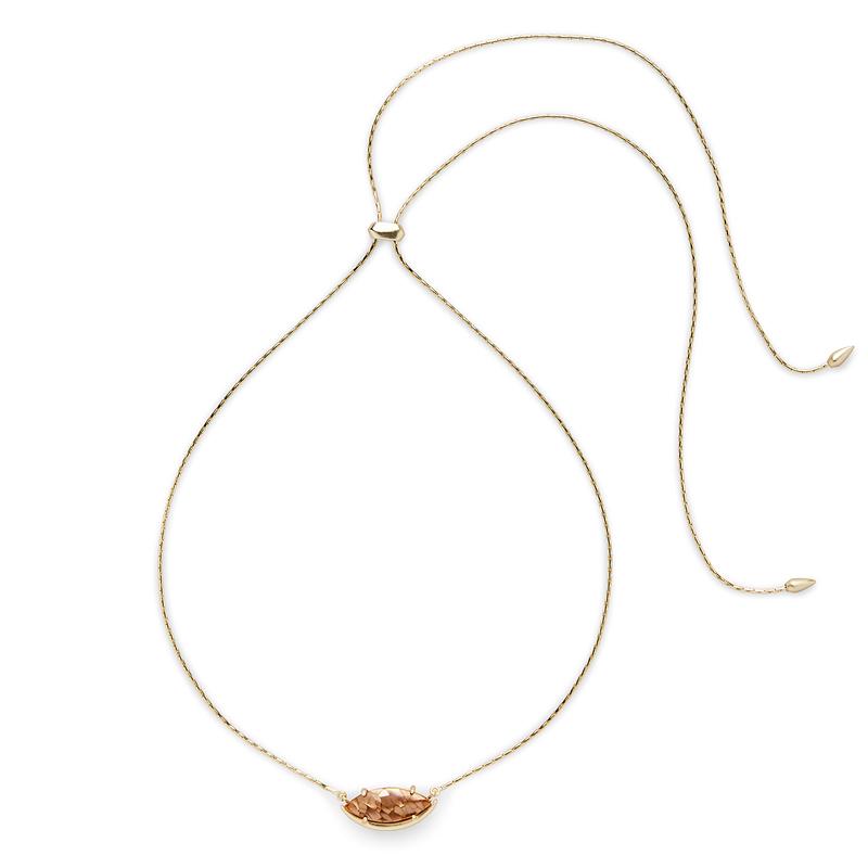 Kendra Scott Meghan Adjustable Necklace in Crackle Brown Mother of Pearl