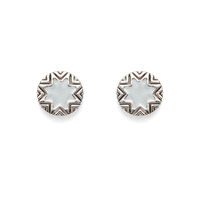 House of Harlow 1960 Enameled Engraved Mini Sunburst Stud Earrings in Silver and Grey