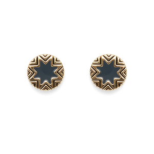 House of Harlow 1960 Enameled Engraved Mini Sunburst Stud Earrings in Dark Grey