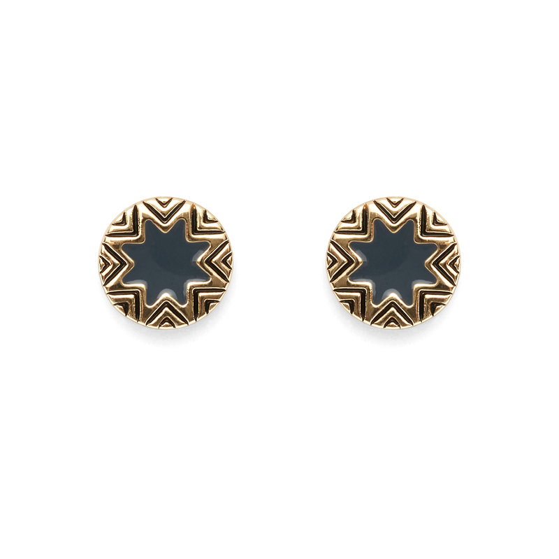 House of Harlow 1960 Enameled Engraved Mini Sunburst Stud Earrings in Dark Grey