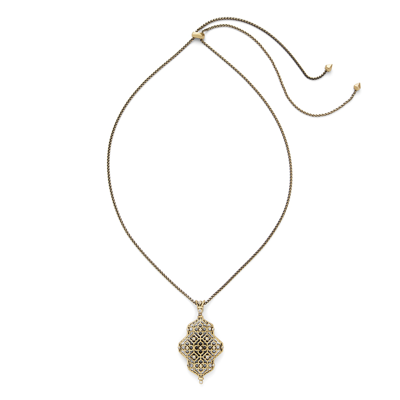 Kendra Scott Kathy Adjustable Necklace in Antique Brass with Pavé