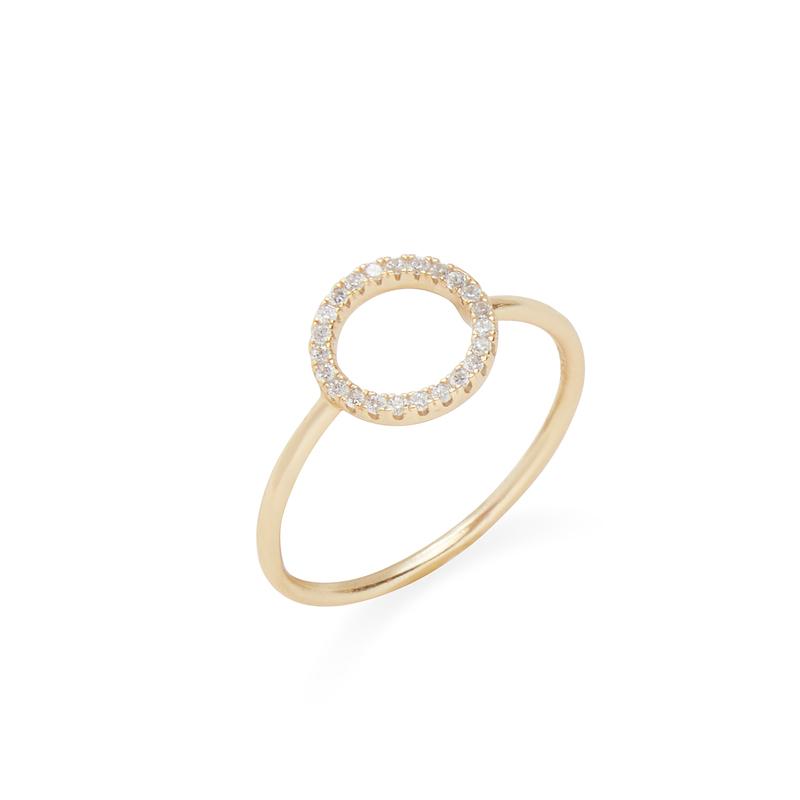 Shashi Circle Pave Ring in Gold