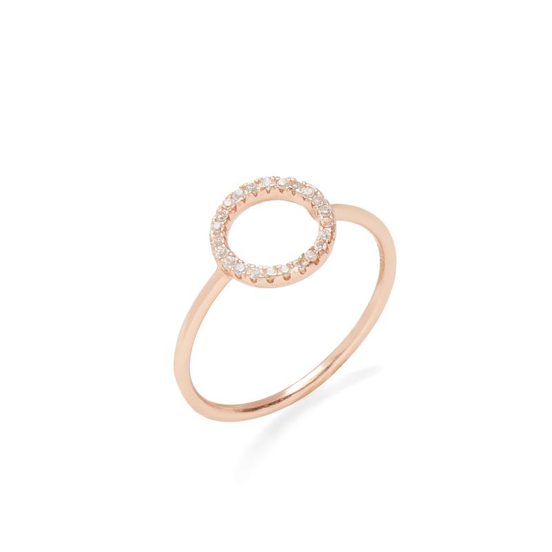 Shashi Circle Pave Ring in Rose Gold
