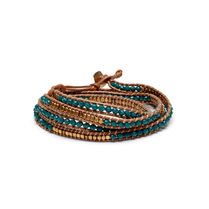 Nakamol Mixed Teal & Gold Wrap Bracelet