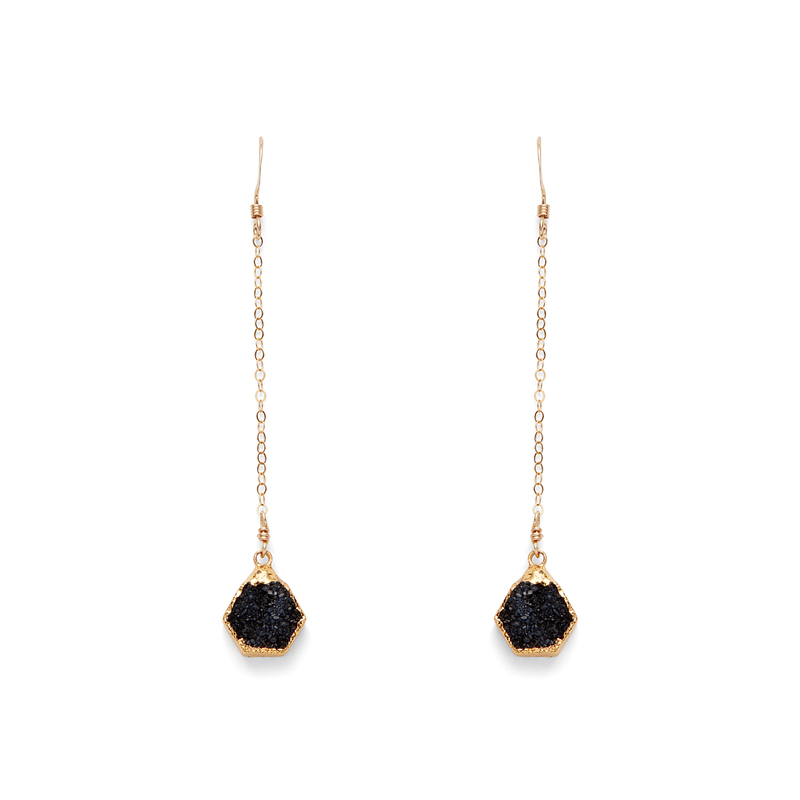 Robyn Rhodes Rory Hexagon Duster Earrings in Black Druzy