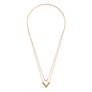 Gorjana Knox V Double Pendant Necklace in Gold