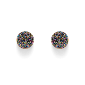 Leslie Francesca Circle Studs in Peacock Druzy