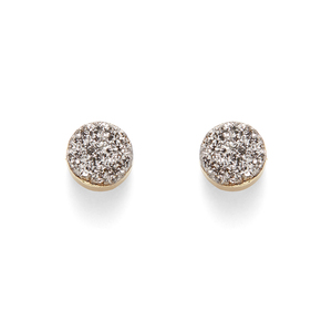 Leslie Francesca Circle Studs in Silver Druzy