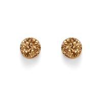 Leslie Francesca Circle Studs in Gold Druzy