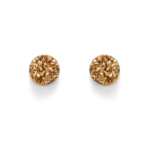 Leslie Francesca Circle Studs in Gold Druzy