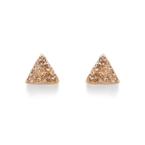 Leslie Francesca Triangle Studs in Champagne Druzy