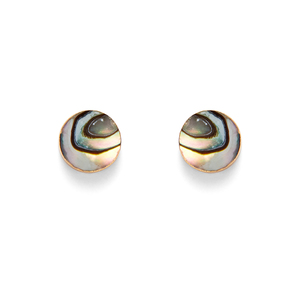 Leslie Francesca Circle Abalone Studs in Gold