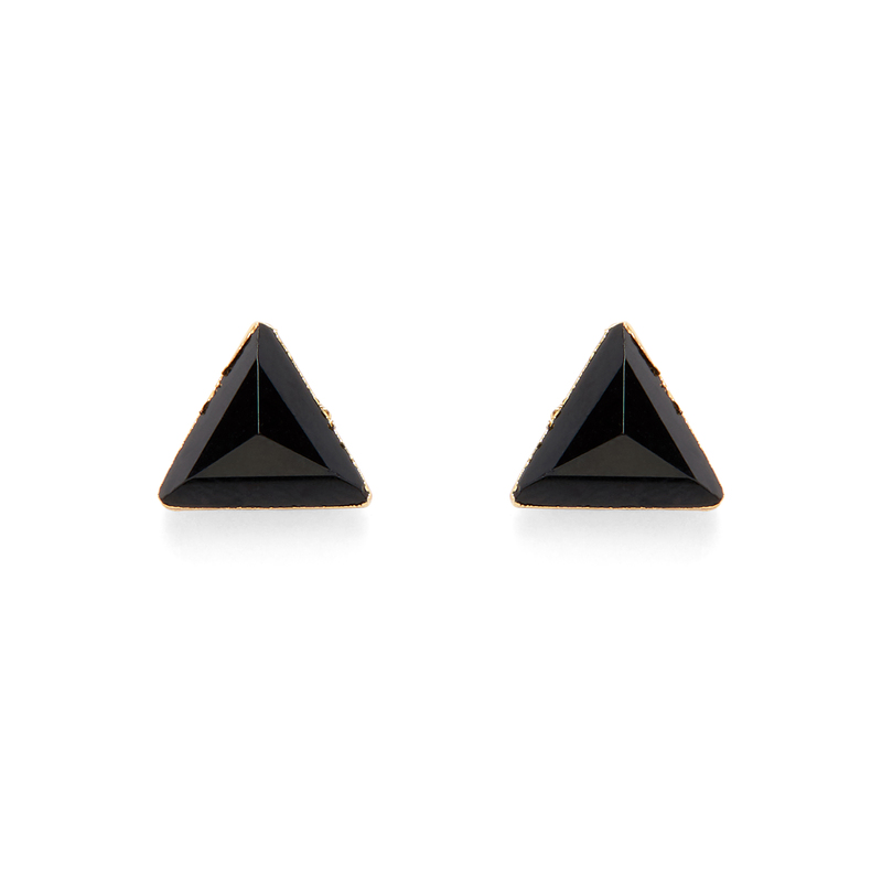 Leslie Francesca Gold Triangle Studs in Jet Chalcedony