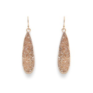 Leslie Francesca Gold Mini Drops in Champagne Druzy