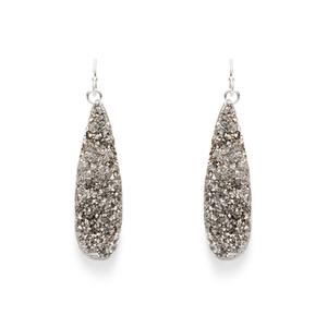 Leslie Francesca Silver Mini Drops in Silver Druzy