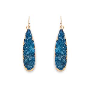 Leslie Francesca Gold Mini Drops in Cobalt Druzy