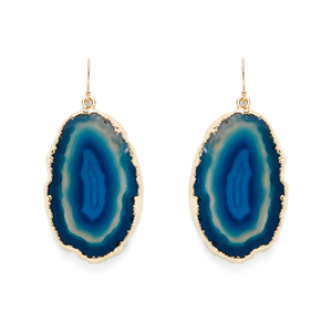 Leslie Francesca Agate Slice Earrings in Blue