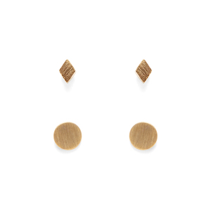 Jill Michael Tiny Gold Metal Diamond Stud + Circle Stud