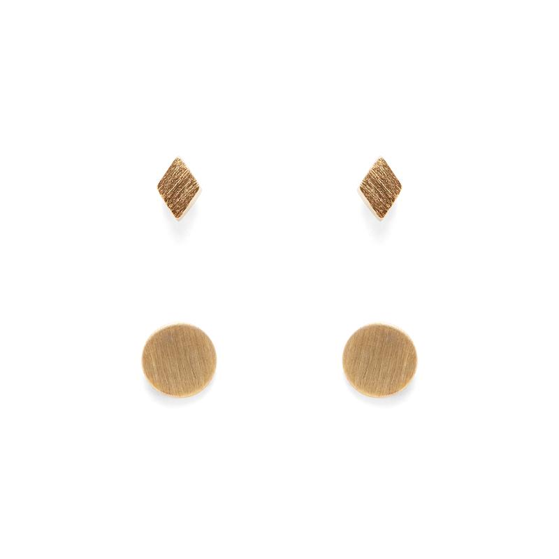 Jill Michael Tiny Gold Metal Diamond Stud + Circle Stud