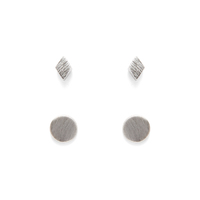 Jill Michael Tiny Silver Metal Diamond Stud + Circle Stud