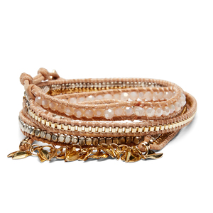 Nakamol Fringe Wrap Bracelet in Gold and Tan
