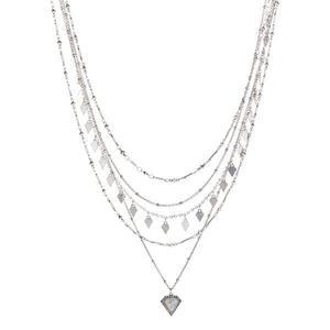 Luv AJ Moonstone Multi Chain Necklace in Silver