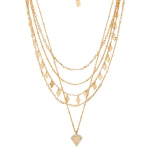 Luv AJ Moonstone Multi Chain Necklace in Gold