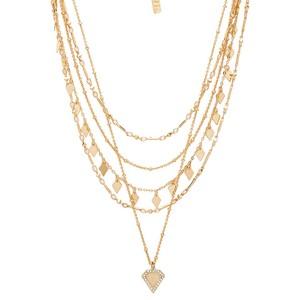 Luv AJ Moonstone Multi Chain Necklace in Gold