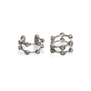 Luv AJ Pavé Hex Ear Cuff in Silver