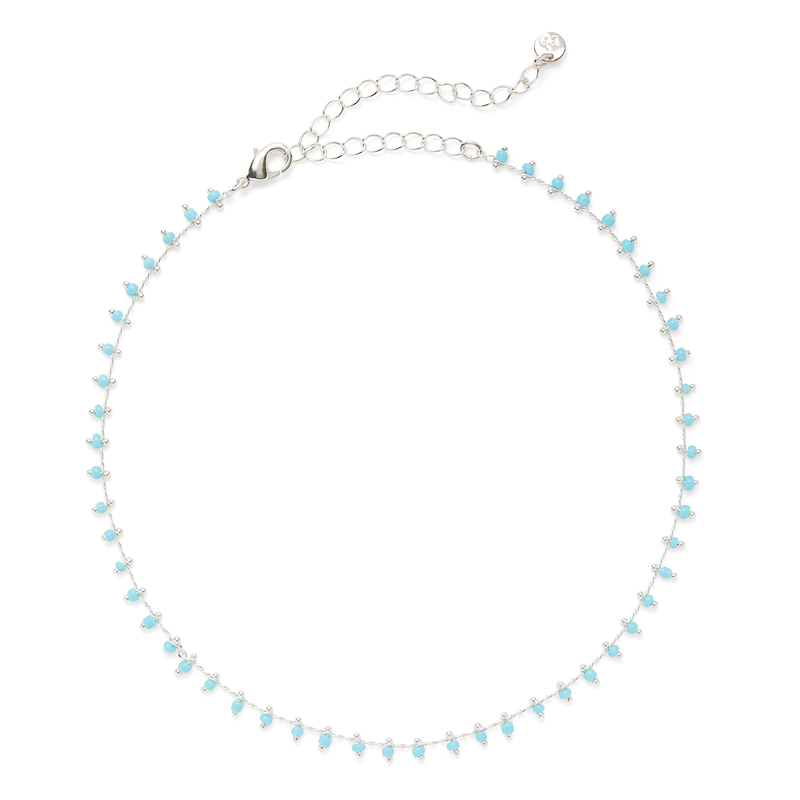 Aster Iris Choker in Silver and Turquoise