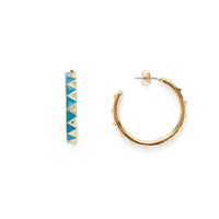 House of Harlow 1960 Nile Delta Hoop Earrings in Turquoise