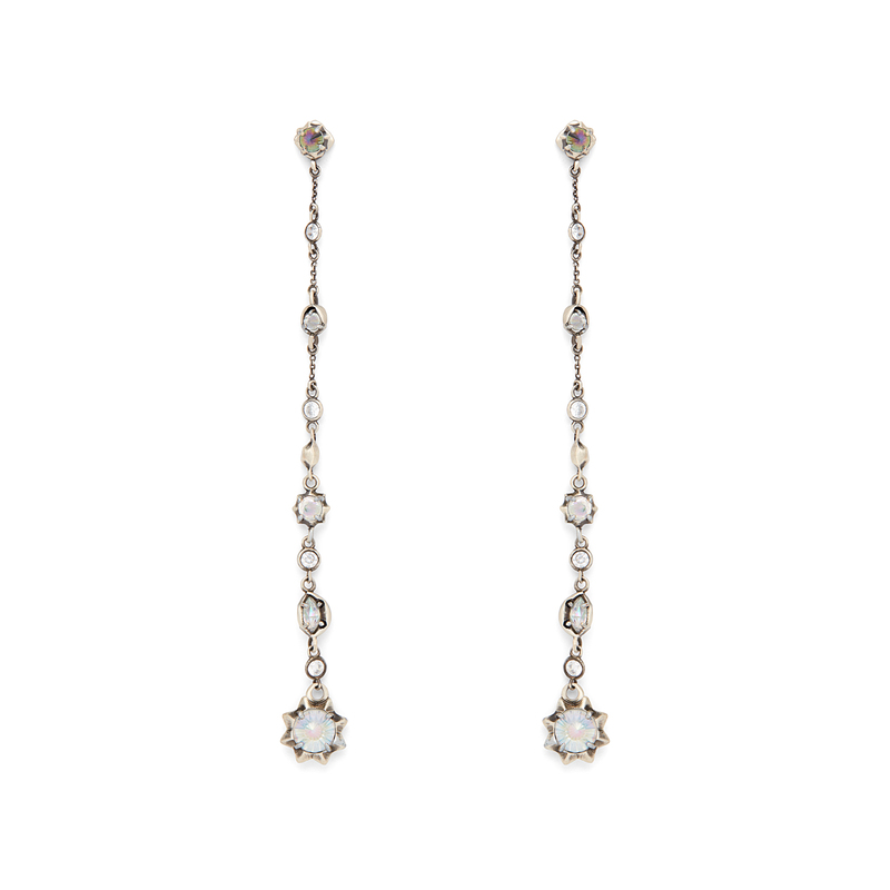 Kendra Scott Lydia Shoulder Duster Ear Jackets in Antique Silver Iridescent