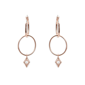 Luv AJ Double Evil Eye Hoops in Rose Gold