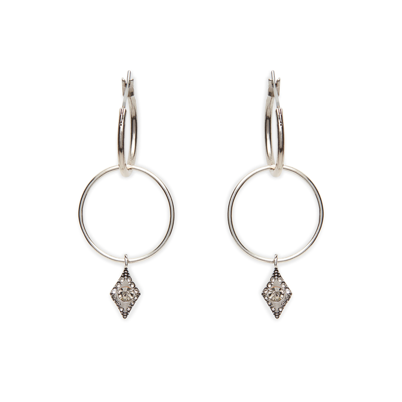 Luv AJ Double Evil Eye Hoops in Silver Ox
